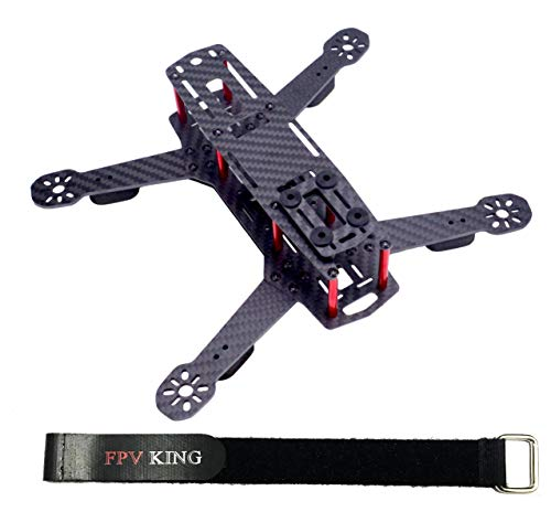 FPVKing 250mm FPV Racing Drone Frame 3K Carbon Fiber Quadcopter Frame for Mini QAV250 + 25cm Lipo Battery Strap