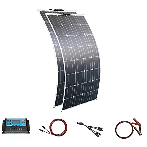 Kit de paneles solares de 200W / paneles solares flexible 12V panel solar monocristalino +...