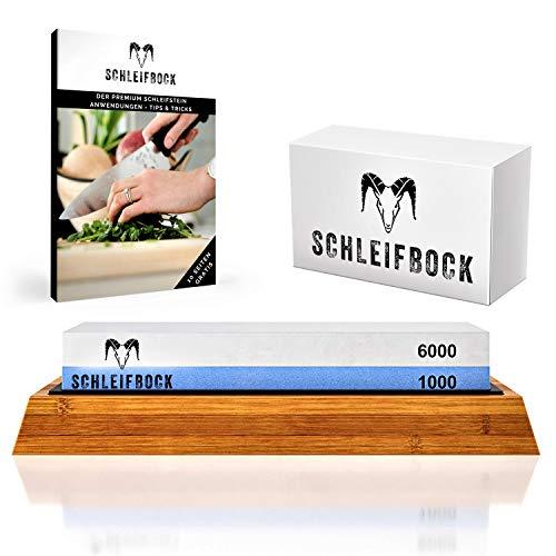 SCHLEIFBOCK Schleifstein 2-in1 Set 6000/1000 | Robuster Abziehstein auf rutschfestem Bambusblock mit gratis Ebook-Anleitung | Wetzstein für schonendes Schleifen