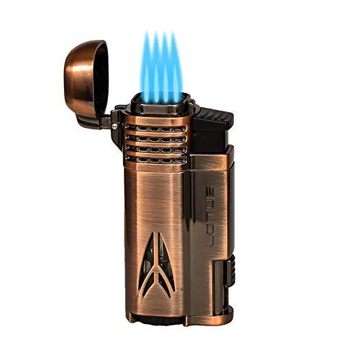 Lotus Defiant Quad Pinpoint Lighter w/Cigar Punch - Copper