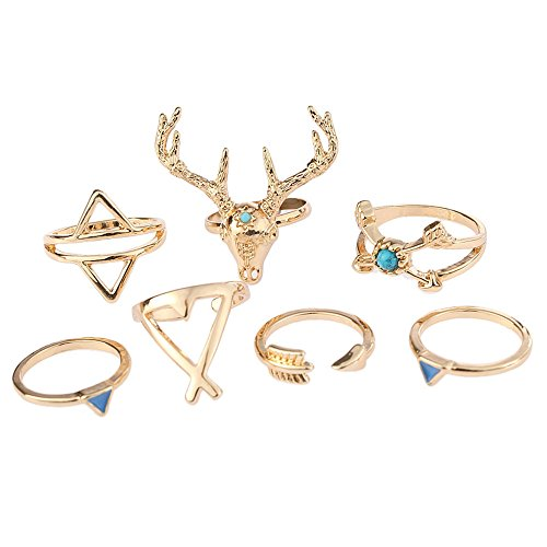 SUNFANI 7 PCS Vintage Knuckle Ring Set Boho Goat Moose Head Arrow Turquoise Crystal Midi Finger Ring for Women (Gold)