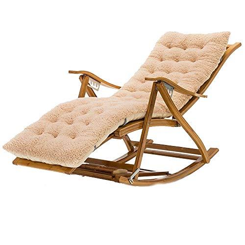 Bseack Chaise à Bascule, Chaise en Bois Massif réglable à 170 ° à Angle réglable en Bois Massif avec Repose-Pieds, Chaise Longue de Balcon (Couleur : B)