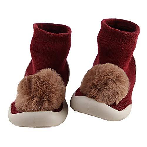 Chaussures bébé chaussettes couleur unie peluche balle enfant chaussures baskets en caoutchouc chaussures chaudes antidérapantes Sensail