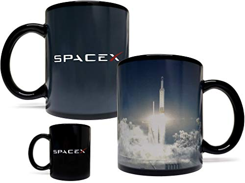 SpaceX Falcon Rocket Launch Color Changing Heat Sensitive 11 Fluid Ounce Mug - Black Ceramic - Foam...