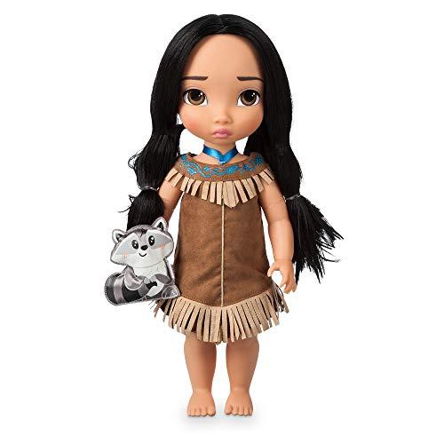 Disney Store: muñeca de Princesa niña Coleccionable de Pocahontas (colección Animators), 39cm, Pelo enraizado y Traje realistas, minipeluche de Meeko en Raso Acolchado, para Mayores de 3años