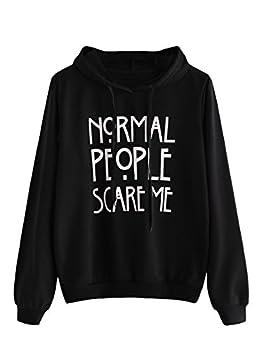 SweatyRocks Sweatshirt Women s Long Sleeve Pullover Sweatshirt Hoodie Black Letter Medium