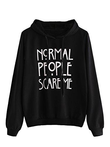 SweatyRocks Sweatshirt Women's Long Sleeve Pullover Sweatshirt Hoodie Black Letter Medium