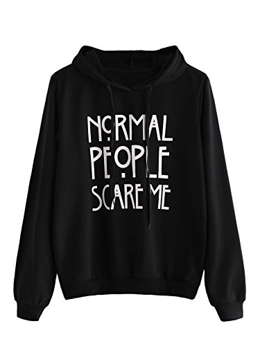 SweatyRocks Sweatshirt Women's Long Sleeve Pullover Sweatshirt Hoodie Black Letter Medium
