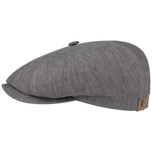 Stetson Hatteras Flatcap Leinen Damen/Herren - Mütze mit Baumwollfutter - Flat Cap mit Sonnenschutz UV 40+ - Schirmmütze Frühjahr/Sommer - Ballonmütze grau 60 cm