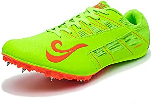 BETOOSEN Track Spike Running Sprint Shoes Track and Field Shoes Mesh Breathable Lightweight Professional Athletic Shoes (Boys, Girls,Womens, Mens) (4 Boys/Girls/Women, Green)