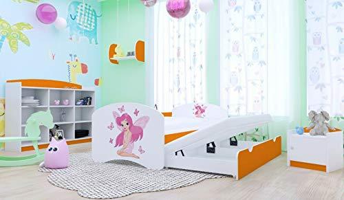 HBD - Cama doble con 2 superficies de descanso, 2 colchones, diseño de princesa con mariposas naranja naranja Talla:200x90 cm