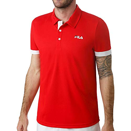 Fila, Popey Polo Herren-Rot, Weiß, XL, Oberbekleidung Uomo, Colore: Rosso