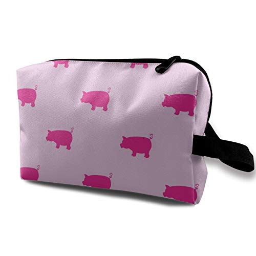 XCNGG Women Makeup Bags Multi-Purpose Portable Travel Cosmetic Bag With Zipper Pink Pigs Pattern