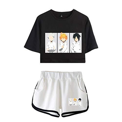 The Promised Neverland Camiseta y Pantalones Cortos para Mujeres Niñas, Emma Norman Ray Summer Sexy Harajuku Streetwear Loungewear Pijamas