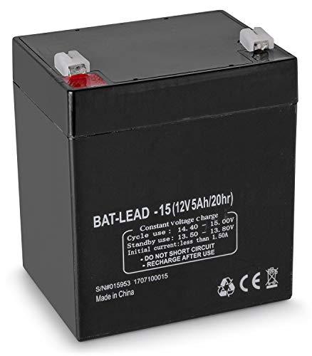 Skytronic - Batterie au plomb Rechargeable pour systèmes audio mobiles, Batterie de remplacement – 12V 5Ah, Durée de fonctionnement longue