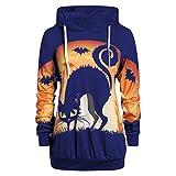 Sudadera con Capucha de Manga Larga Talla Grande Y2K para Mujer, Suelto Pullover Moda Estampada De Halloween Gato Negro Casual Vintage Hoodie Jersey E-Girl 90s Streetwear (A Azul, M)