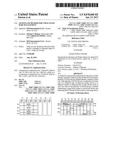 System and method for unbalanced RAID management: United States Patent 9678668 (English Edition)