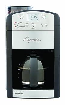 Capresso 464.05 CoffeeTeam GS 10-Cup Digital Coffeemaker with Conical Burr Grinder Glass Carafe  Black  15.5  x 9.5  x 9.75