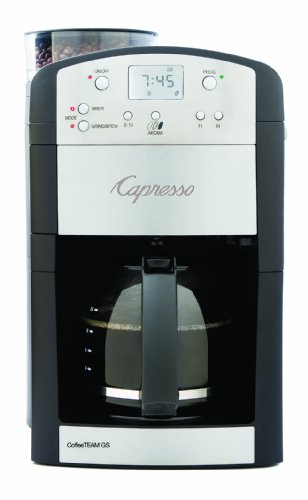 Capresso 464.05 CoffeeTeam GS 10-Cup Digital Coffeemaker with Conical Burr Grinder, Glass Carafe