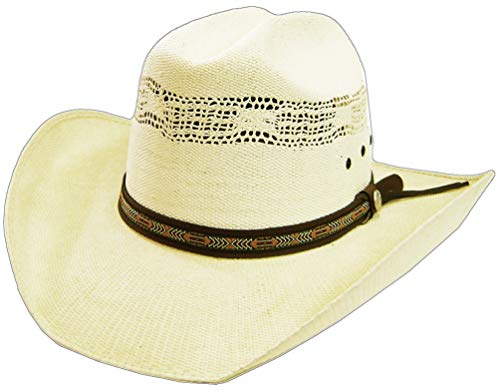 Modestone Unisex Native Woven Hatband Bangora Straw Chapeaux Cowboy Off-White 60
