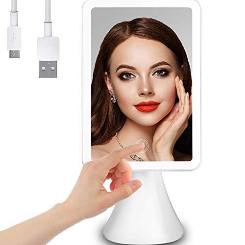Peralng Schminkspiegel, Tischspiegel USB-Aufladung LED Rasierspiegel mit Touch-Screen für Schminken Rasieren Gesichtspflege