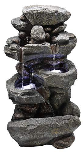 Möbelbörse LED Gartenbrunnen Wasserfall 60cm Kaskadenbrunnen Zierbrunnen Zimmerbrunnen Brunnen Wasserspiel XL Steinoptik - mit 12 LED\'s | Indoor/Outdoor