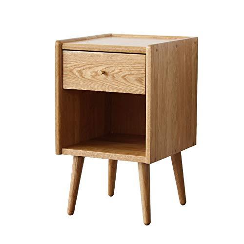 Nachtkastje, nachtkastje met schuifladen en boekenkastje, modern massief houten slaapkamer-multifunctioneel meubel s nachts praktisch en veelzijdig