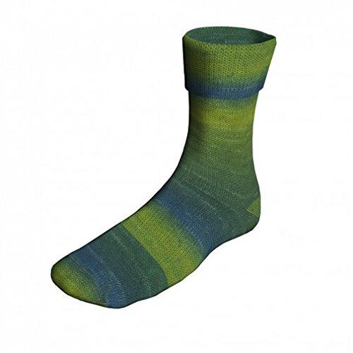 Lang Yarns Super Soxx Color 158 Apfelgrün/Grün/Petrol/Blau 100g