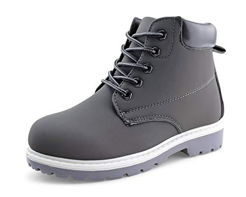 JABASIC Kids Lace-Up Ankle Boots Boy Girl Waterproof Outdoor Workboots (11 Little Kid, Grey)