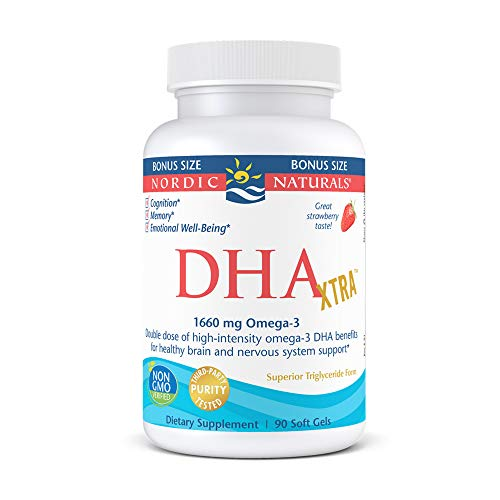 Nordic Naturals DHA Xtra, Strawberry - 90 Soft Gels - 1660 mg Omega-3 - High-Intensity DHA Formula for Brain & Nervous System Support - Non-GMO - 45 Servings