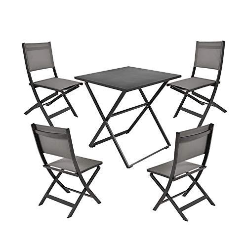 Garden Art Premium Line Garden Furniture Set of 5, 4 garden chairs, 1 garden table, Folding Chair Made of Aluminum Weatherproof