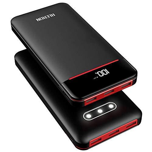 RLERON 25000mAH Draagbare Telefoon Oplader Zonnebank Externe Batterij met Drie 2.4A uitgangen, Dual 2.4A Inputs voor iPhone Samsung, Tabletten en meer (batterij inbegrepen), powerbank