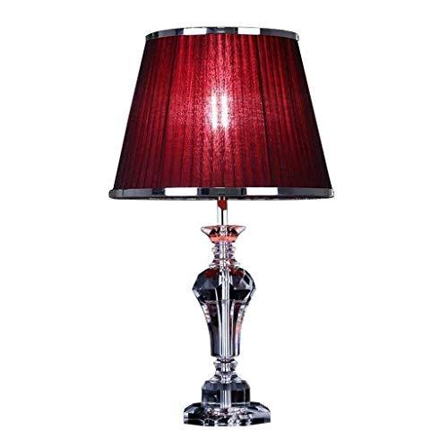 CSD Lámpara de mesa decorativa Sala lámpara de cristal de la tabla, decorativo moderno rojo de la tela de sombra for el dormitorio Estudio de la cabecera del escritorio remoto de control de lámpara de