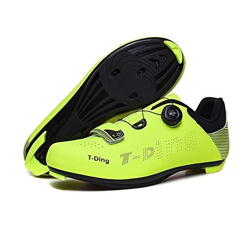QWERTY Zapatillas De Ciclismolos Zapatos De Ciclismo para Hombres Son Antideslizantes Y Resistentes Al Desgaste,Fluorescentgreen-39