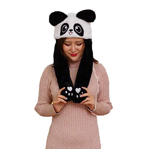 Neckip Glühender Plüschhut, Ziehen Sie Ihre Ohren und bewegen Sie Sich, Weihnachtsmütze, Hasenmütze, Panda-Mütze, DREI Beleuchtungsmodi mit schnellem Blinken, langsamem Blinken und Immer hellem Licht