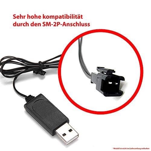 Himoto HSP USB-Ladekabel mit 7.2V und SM-2P Stecker für u. a. RC Flugzeuge, Drohnen, Bagger, Fahrzeuge, Panzer und andere RC Modelle, Original Ersatzteil