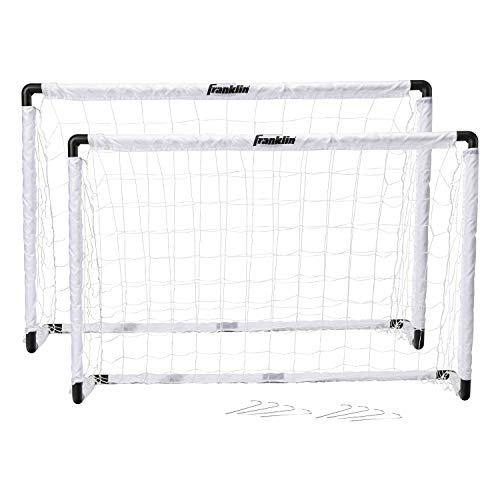 Franklin Sports Kids Soccer Goal Set - Portable Backyard Youth Soccer Goals - 2 Mini Soccer Goals with Ground Stakes - 54' x 36'