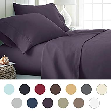 ienjoy Home Hotel Collection Luxury Soft Brushed Bed Sheet Set, Hypoallergenic, Deep Pocket, Queen, Purple