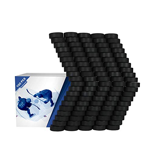 Golden Sport Ice Hockey Pucks, 100pcs, Official Regulation, for Practicing and Classic Training, Diameter 3 , Thickness 1 , 6oz, Black