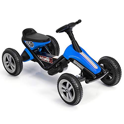 HONEY JOY Go Kart for Kids, 4 Wheels Quad Pedal Go Cart with Anti-Slip Strips, Steering Wheels, Outdoor Racer Ride On Pedal Car for Boys Gilrs (Blue)