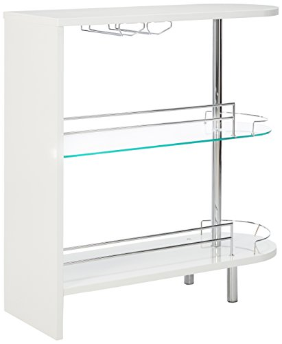 Coaster 2-holder Bar Table, Glossy White/Clear