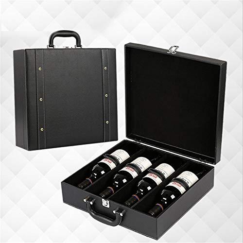 CaoDquan Handheld Draagbare Wijn Box Top Plank Wijn Tour Operators Horizontale Champagne Wijn Opbergdoos Gift Box 4 Flessen Huishoudelijke Gift Bruiloft Verjaardag Party Gift Box voor Wijn