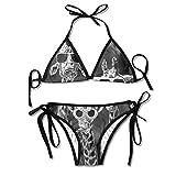 Garlincao Conjunto de Bikini con Estampado Familiar de Jirafa para Mujer de Moda Trajes de baño Ajustables