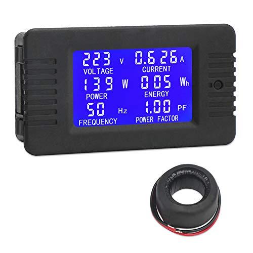 AC Digital Meter, DROK Current Voltage Amperage Power Energy Frequency Factor Multimeter AC 80-260V 100A LCD Digital Display Voltmeter Ammeter 220V 110V Monitor Detector with Current Transformer CT