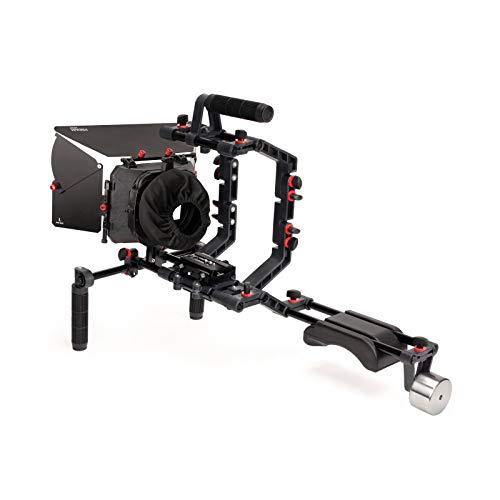 FILMCITY DSLR Cámara soporte de hombro Kit de rig con caja de jaula y mate | DV HDV DSLR Videocámaras compatibles | Libre de Compensar Z soporte y manija de soporte (FC-02)