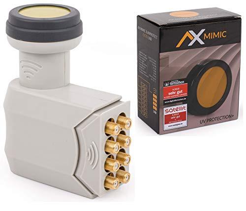 [Test 2X SEHR GUT *] AX Mimic Octo LNB Sun Protect (extrem kälte- & hitzebeständig -35°C~70°C) mit LTE-Filter, 8 Teilnehmer, 0.1dB, 8-Fach, Full-HD, 4K UHD, Kontakte vergoldet, mit Wetterschutz