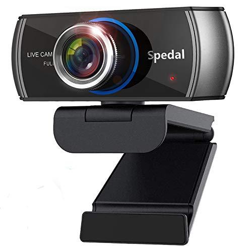 Spedal HD Webcam 1080p mit Mikrofonen, Streaming Webcam H.264, 100° Sichtfeld Kamera für OBS XSplit Skype Facebook, Kompatibel für Windows Mac