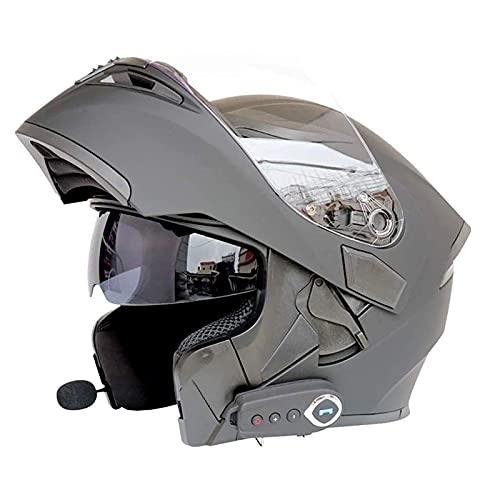 Casco Moto con Bluetooth Cascos Modular Flip Up Motocicleta, ECER 22-05 Aprobado Doble Visera Anti Niebla HD Reducción de Ruido con Altavoz Incorporado para Adultos ( Color : B , Size : 2XL=63~64CM )