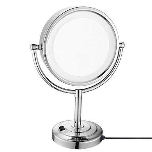 DCLINA Espejo Maquillaje con Luces, Espejo LED Doble Cara latón 8 Pulgadas, Espejos tocador encimera con Aumento, Espejo cosmético Iluminado con rotación 360 ° con Interruptor y Enchufe