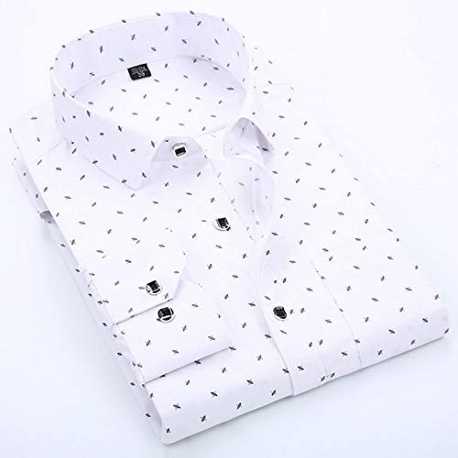 Men's Shirt  Polka Dot Classic Collar Long Sleeve